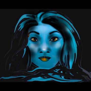 Portret vrouw. Zwart blauw van Raina Versluis