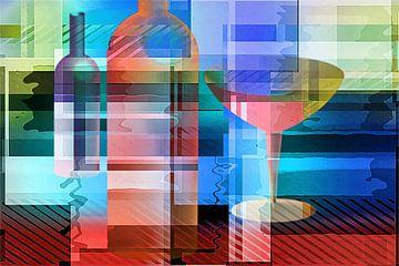 Stilleven met fles en glas, kubistisch van Rietje Bulthuis