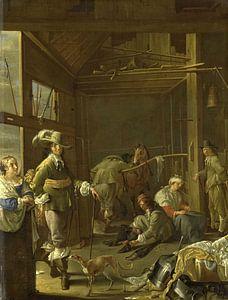Krijgslieden in een paardestal, Jacob Duck