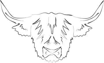 Schotse hooglander line art van Anne Dellaert
