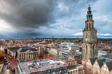 Les pluies s'écoulent sur la ville de Groningen sur Evert Jan Luchies