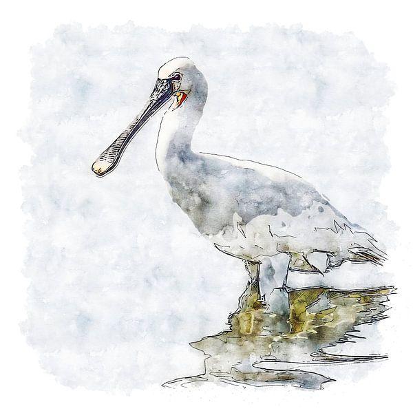 Der Löffler (Aquarell) von Art by Jeronimo