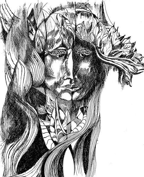 Kopf mit Blattschmuck van Eberhard Schmidt-Dranske