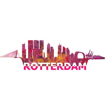 Rotterdam Holland Skyline Silhouet van Markus Bleichner