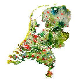 Nederland | Landkaart in Aquarel van - Wereldkaarten.shop -