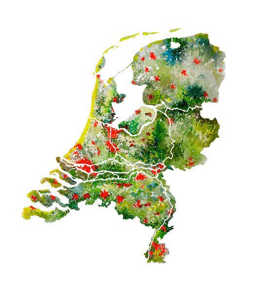 Nederland - Landkaart in Aquarel
