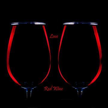 Glas Rode wijn, 2 glazen rode wijn met Love Red Wine van Gert Hilbink