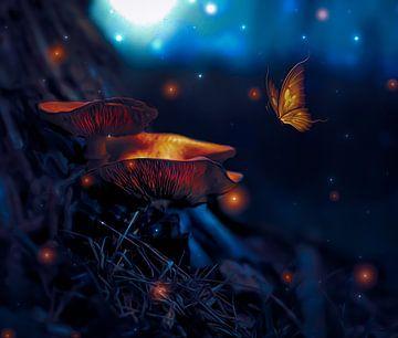 dromerige nacht paddestoel van Jessica Vreede