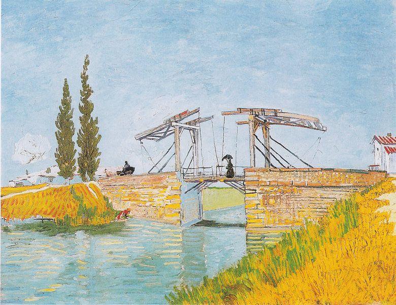 Vincent van Gogh. Dame met paraplu op de brug van Langlois in Arles van 1000 Schilderijen