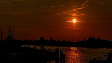 Gorinchem bij zonsondergang