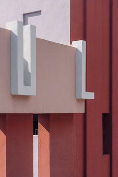 Muralla Roja reisfotografie print ᝢ abstracte roze architectuurfoto