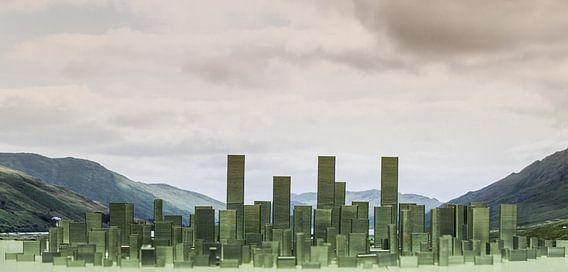Skyline, abstract, gemaakt van nietjes van Marcel Krol
