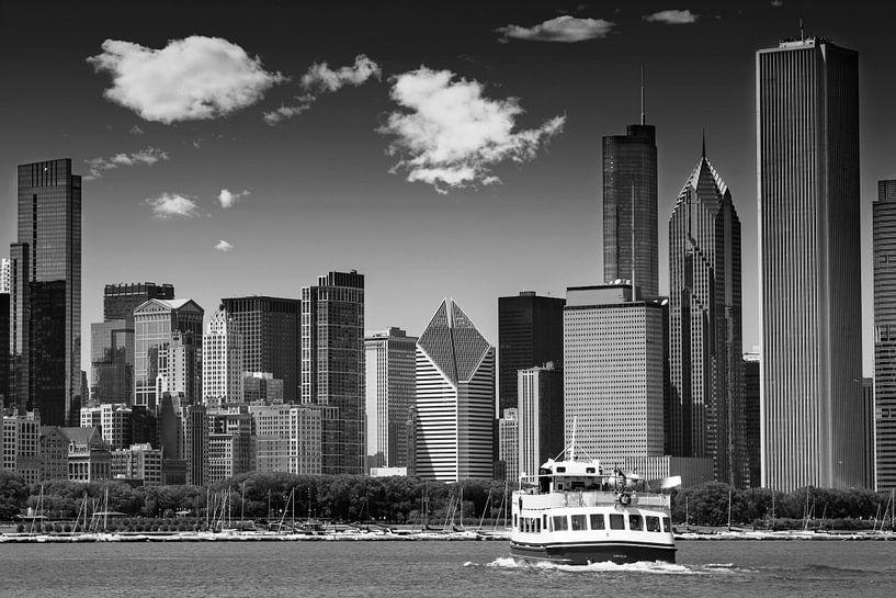 CHICAGO Skyline   Monochroom van Melanie Viola