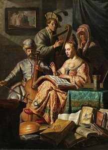 Rembrandt van Rijn. Musicerend gezelschap van 1000 Schilderijen