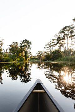 Kano die vaart in de bayou in New Orleans, Verenigde Staten
