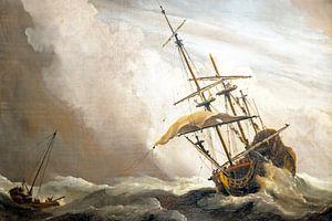 Traditioneel hollands schip gepakt door een windvlaag, bekend als 'De Windvlaag', door Willem van de van
