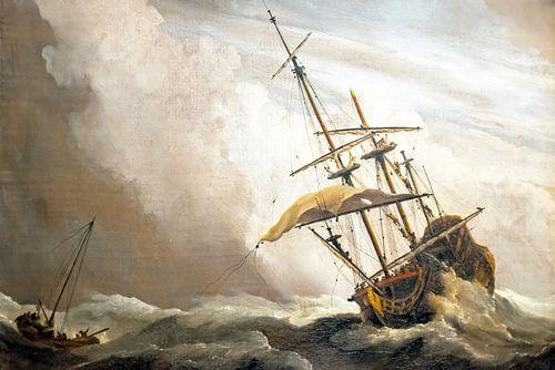 Traditioneel hollands schip gepakt door een windvlaag, bekend als 'De Windvlaag', door Willem van de