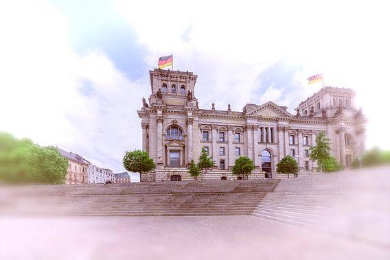 surrealistisch gezicht op de Reichstag in Berlijn