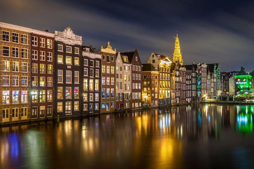 Damrak haven Amsterdam van Peter Bolman