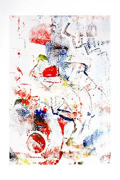 Monoprint kunst art in rood en blauw van Marianne van der Zee