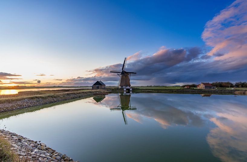 Molen Het Noorden Texel zonsondergang van Texel360Fotografie Richard Heerschap