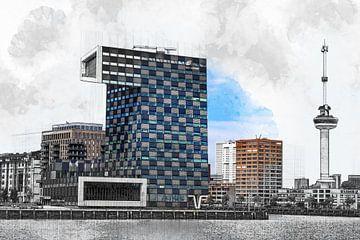 Architektonische Skizze des Euromasts und des Gebäudes der STC-Gruppe in Rotterdam von Art by Jeronimo