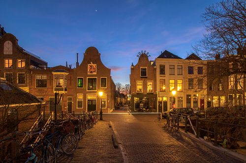 Avondfoto Vollersbrug met Oudegracht Utrecht