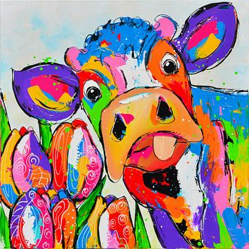 Kuh mit bunten Tulpen von Vrolijk Schilderij