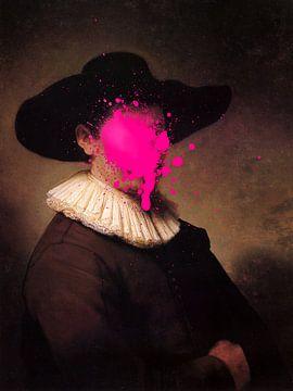 Rembrandt Herman Doomer met roze verf vlek van Maarten Knops