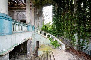 Verlassene überwucherte Treppe.