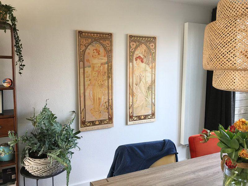 Kundenfoto: Tijden van de Dag: Dag Helderheid - Art Nouveau Schilderij Mucha Jugendstil von Alphonse Mucha, auf holzdruck