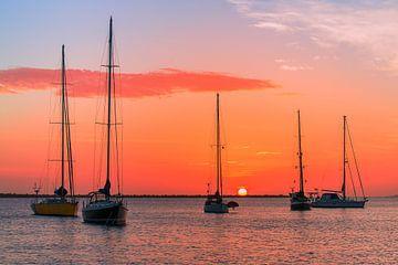 Gruppe von Segelbooten auf See mit orangefarbener untergehender Sonne von Ben Schonewille