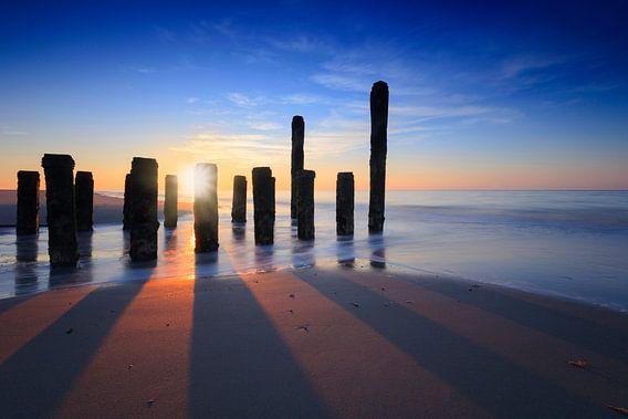 zonsondergang aan de kust van Zeeland