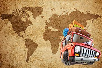 Zäher, schwer gepackter Jeep für Weltkarte von Henny Hagenaars