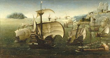 Portugese boten voor een rotsachtige kust, cirkel van Joachim Patinir