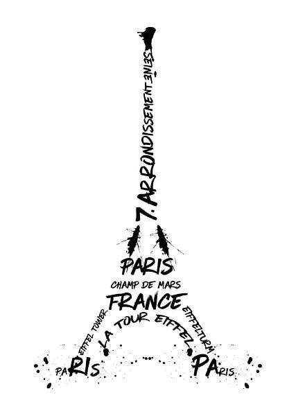 Digital-Art Eiffel Tower van Melanie Viola