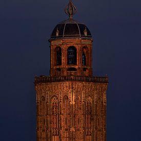 Kirchturm mit Vollmond, Deventer von Adelheid Smitt