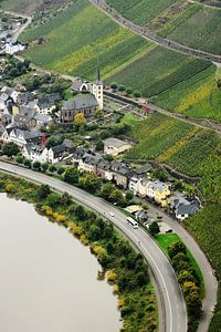 View of the wine village Bremm on Moselle