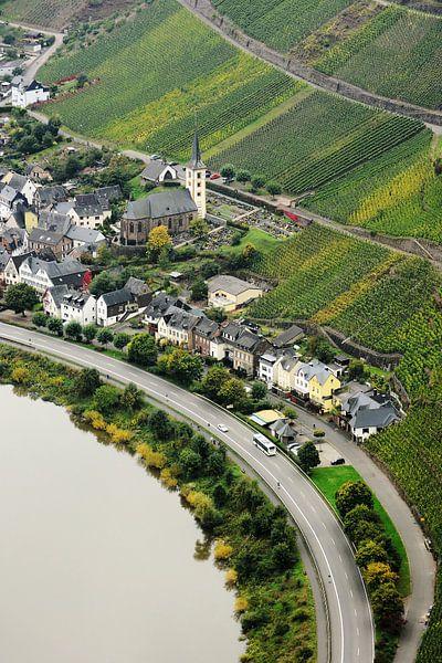 View of the wine village Bremm on Moselle van Gisela Scheffbuch