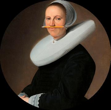 Portret van Adriana Croes, Johannes  Cornelisz. Geschilderd door Verspronck met potlood van Maarten Knops