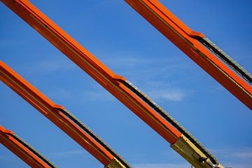 Oranje  Kranen tegen blauwe lucht van Alice Berkien-van Mil