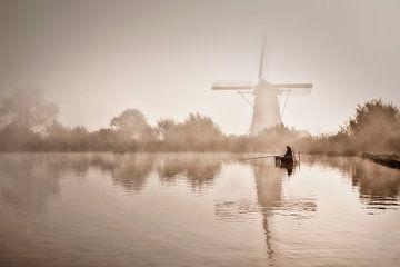 Fischer im Fluss Vecht von Frans Lemmens