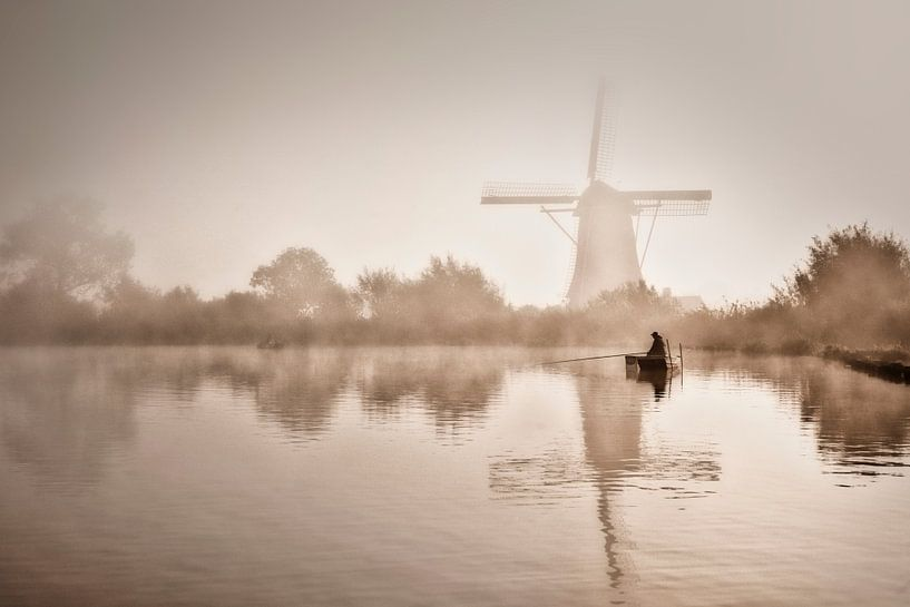 Un pêcheur au fleuve Vecht sur Frans Lemmens