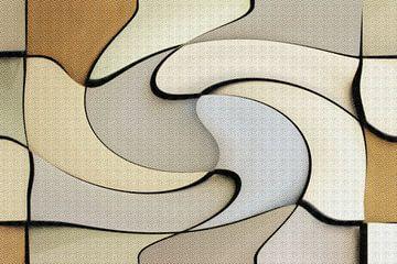 Abstrakte organische Formen in graubeigefarbenen Tönen von Maurice Dawson