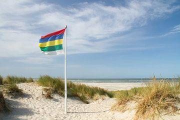Strand en duinen van Terschelling met vlag  #1 van Marianne Jonkman
