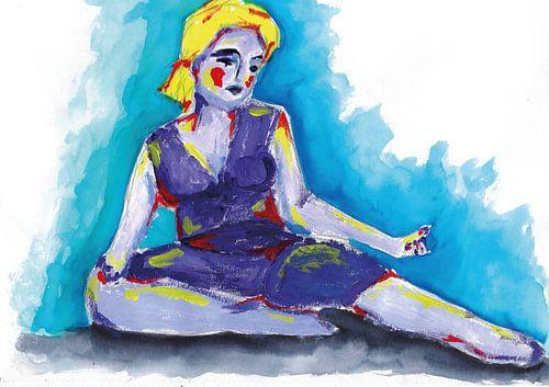 De paarse vrouw mixedmedia