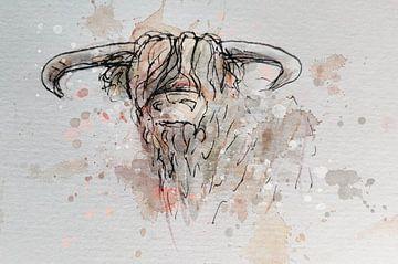 Aquarel schotse hooglander - inkt pen waterverf en digitaal artwork van Emiel de Lange