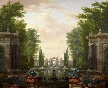 Waterpartij met beelden en gebouwen in een park, Isaac de Moucheron