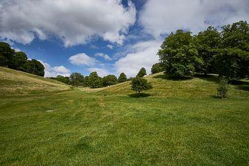 Jardin de château anglais en pente, vert gazon sur Geert van Kuyck