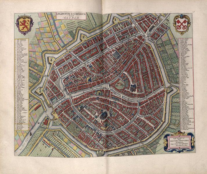 Leiden, Stadtplan Joan Blaeu 1652 von Atelier Liesjes
